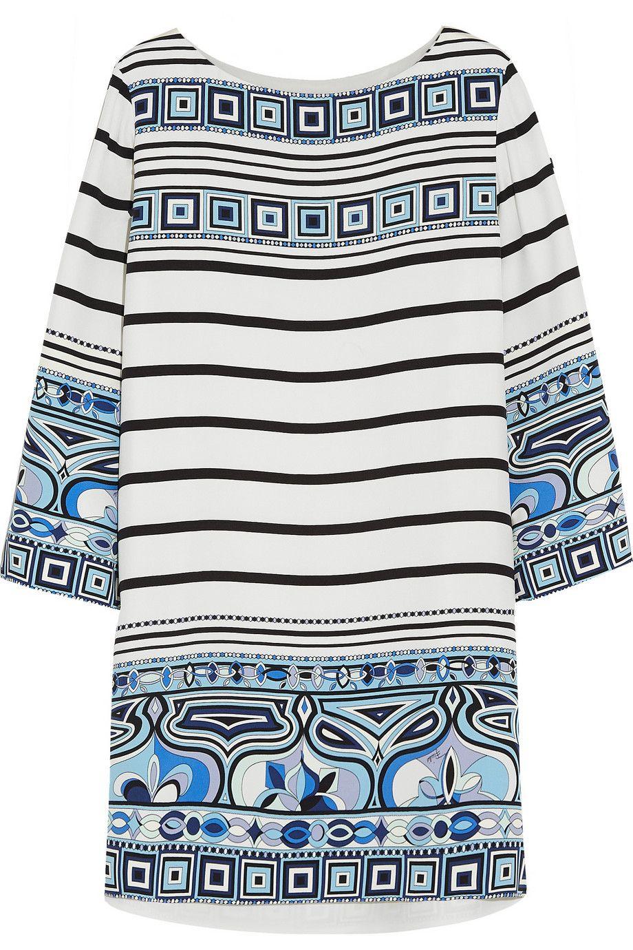 EMILIO PUCCI Printed Silk Crepe De Chine Mini Dress. #emiliopucci #cloth #dress