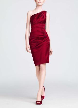 One Shoulder Stretch Satin Short Dress David S Bridal In Plum Not Red