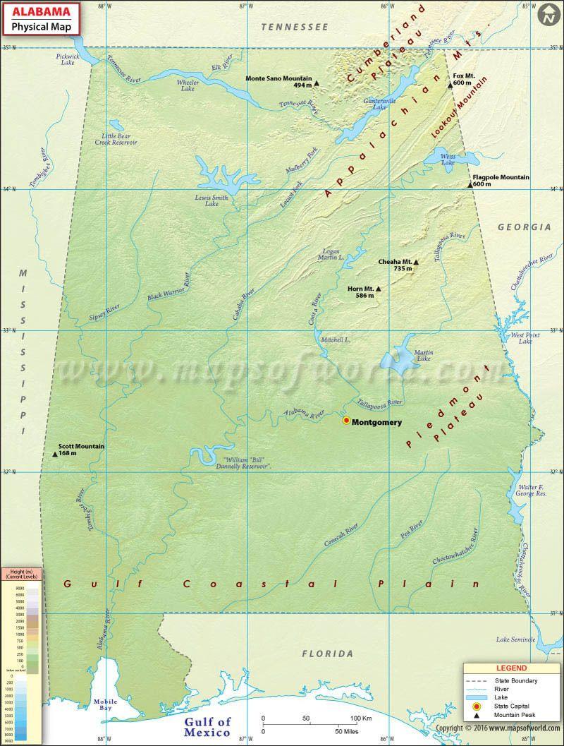 Physical Map of Alabama | USA Maps | Study materials, Map ... on alabama georgia map, alabama california map, alabama ohio map, alabama kentucky map, alabama south carolina map,