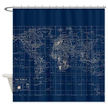 Navy Blue World Map Shower Curtain Dark Travel Decor Masculine