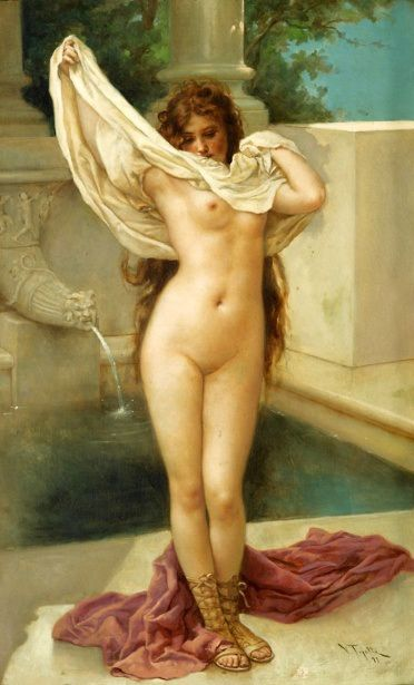 Bath Time:  Virgilio TOJETTI  1849 - 1901  Virgilio Tojetti was born in Rome, Italy on March 15, 1849, the son of Domenico Tojetti. Virgilio was a pupil of his father and later studied in Paris with Gérôme and Bouguereau. He was a resident of San Francisco from 1871 until about 1883 when he moved to New York City.