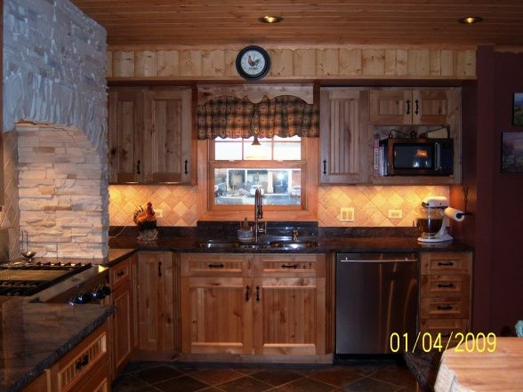 Rustic Country Kitchen With Rooster Backsplash, Completed New Kitchen,  Added Space, Added Pantry, With Rustic Knotty Alder Cabinets With Slow Close  Drawers ...