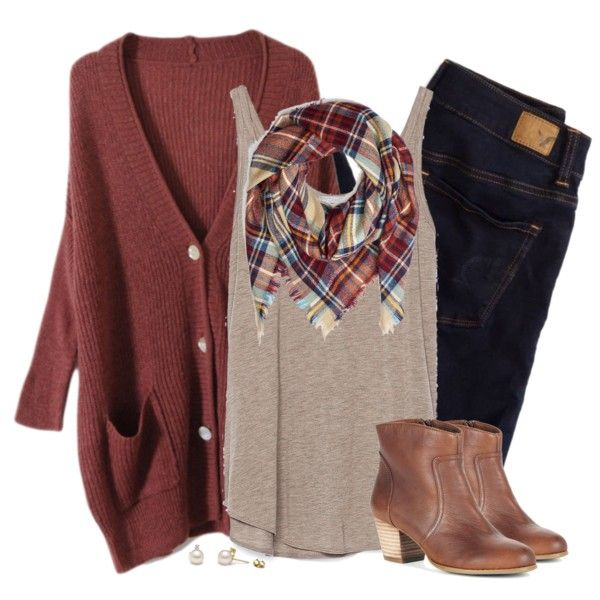 Oversized Rust Cardigan Amp Plaid Blanket Scarf Fall