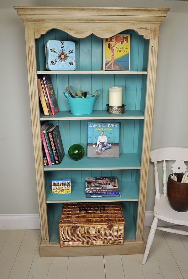 Best Lovely Beige Shabby Chic Bookshelves Design With Blue 400 x 300