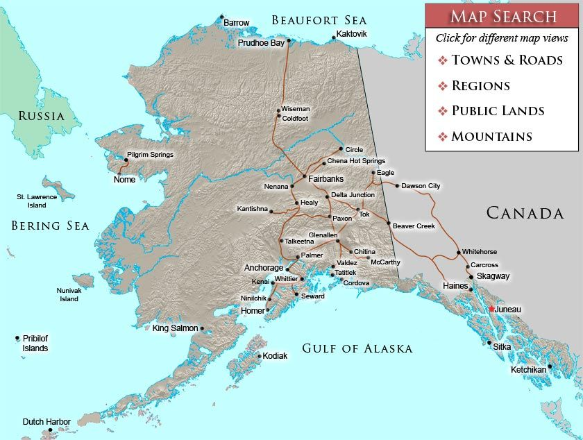 Map Of Towns And Cities In Alaska CONTACT - Cities in alaska map