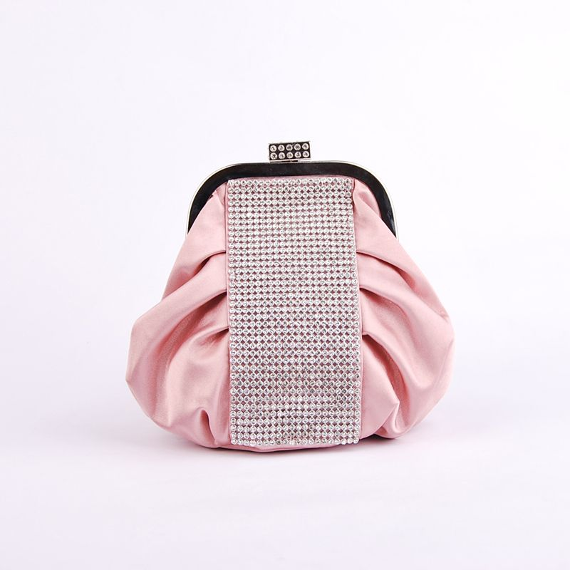 Pink Crinkled Satin Evening Clutch with Rhinestone Category:Clutches/Cross-Body Bags/Shoulder BagsOccasion:Wedding/Special OccasionMaterial:SatinColor:PinkShown Color:PinkEmbellishment:Rhinestones/CrystalOpen Method:Snap ClosureStrap or Handle Style:DetaDetachable ChainMeasurement (Handle not…