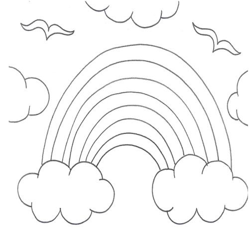 Rainbow In Clouds Coloring Pages Coloring Pages Coloring For