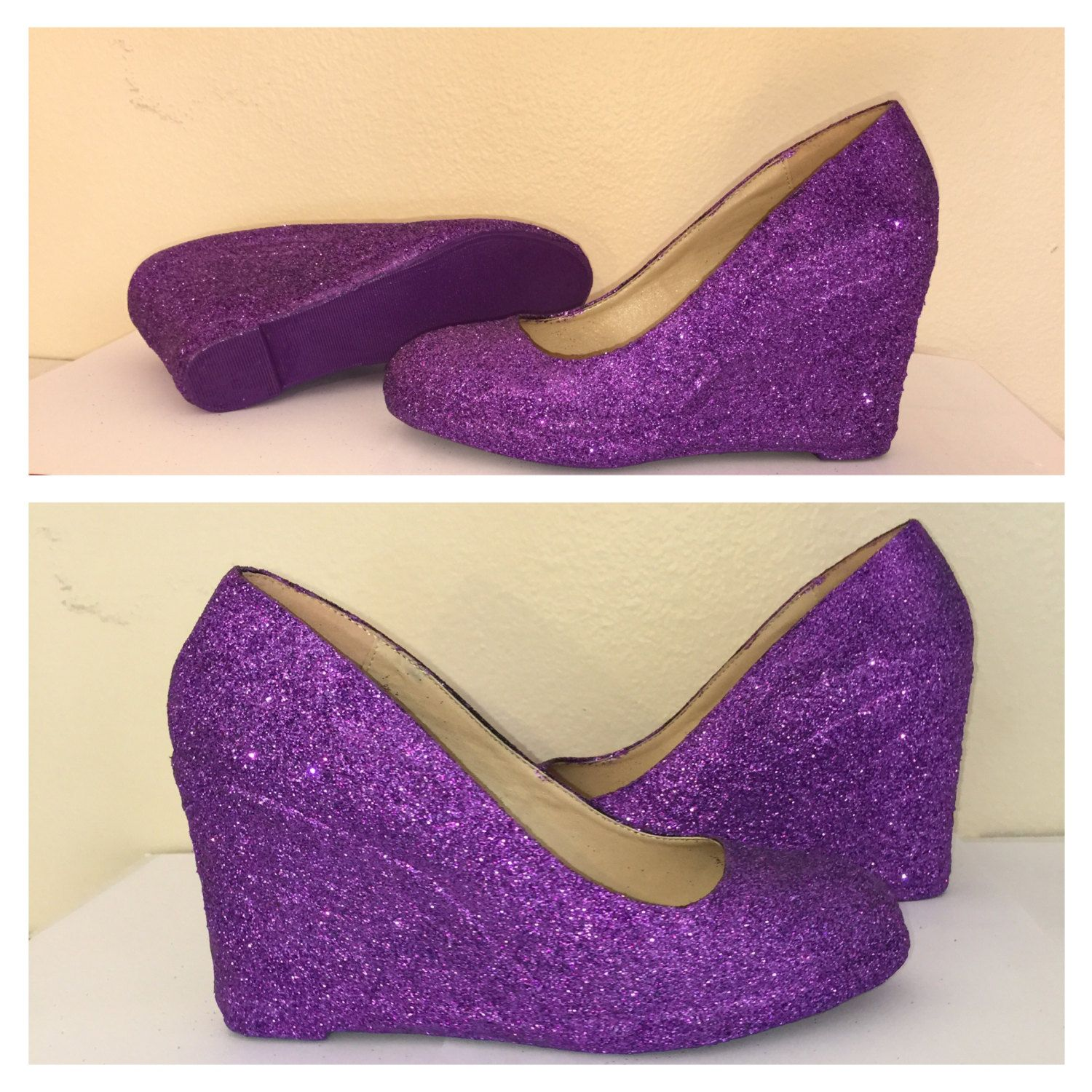Women's Sparkly Purple eggplant regency low or high heel wedge ...