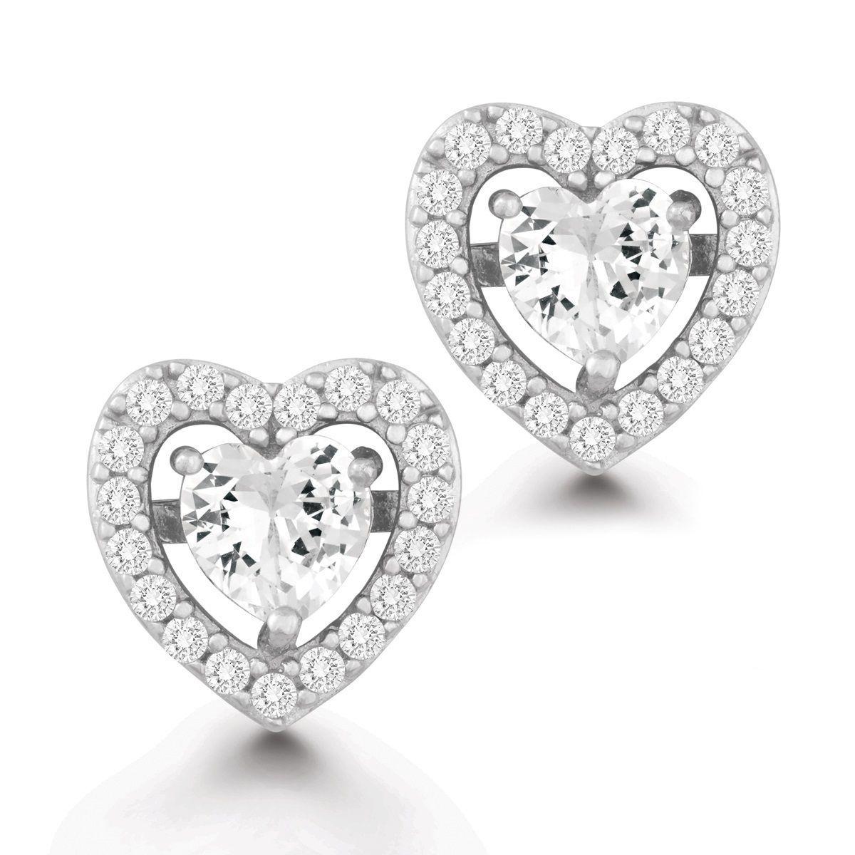La Preciosa Sterling Silver Cubic Zirconia Heart Stud Earrings, Women's