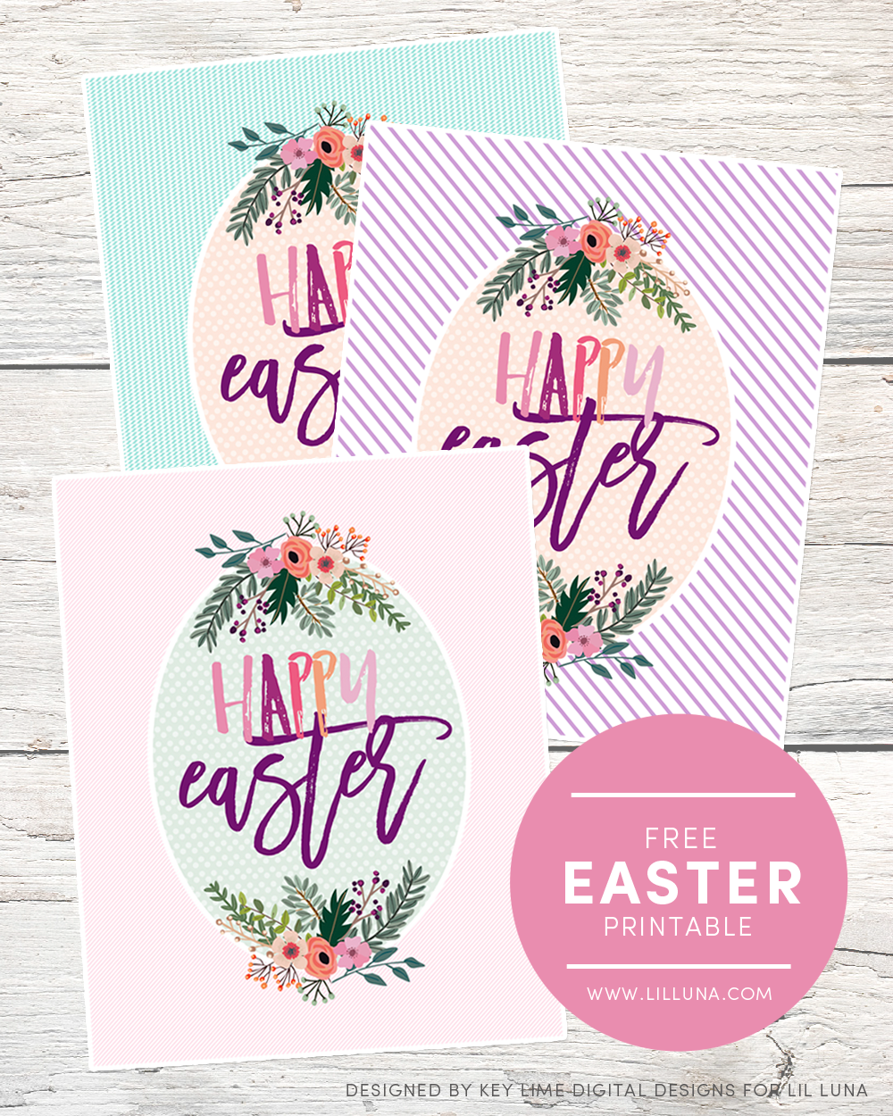 FREE Happy Easter Printables - available to download in 3 colors ...