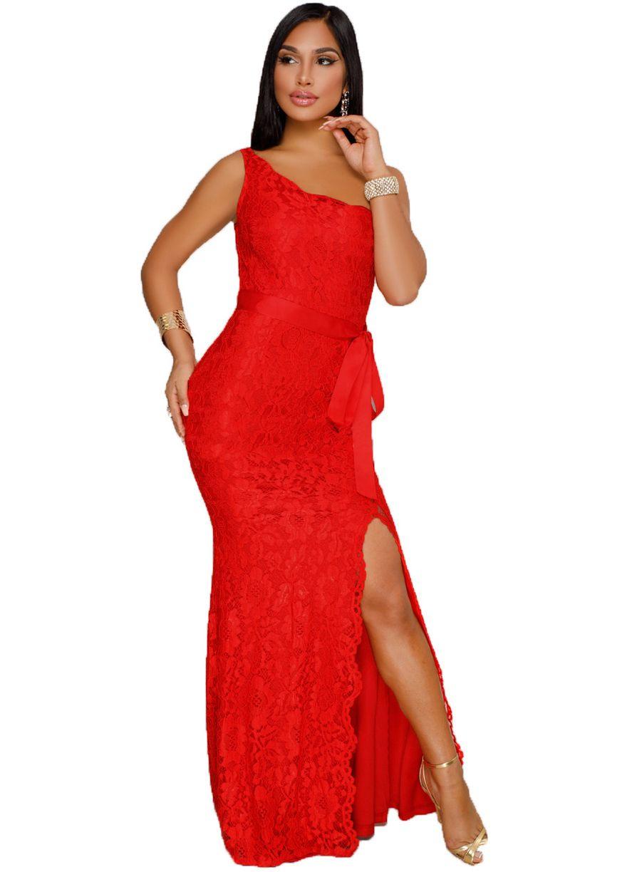 Fernanda red lace overlay one shoulder dressmaxi dressdressessexy