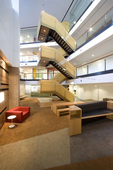 Best Atrium Switchback Stair Modern Stairs Stairs Design 640 x 480