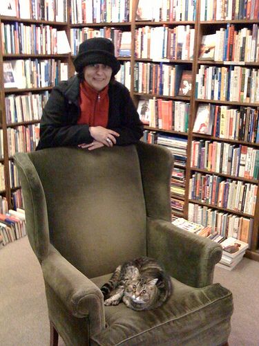 Kathryn Greenhill With Alice The Bookshop Cat At Dusty Bookshelf Downtown Lawrence Kansas