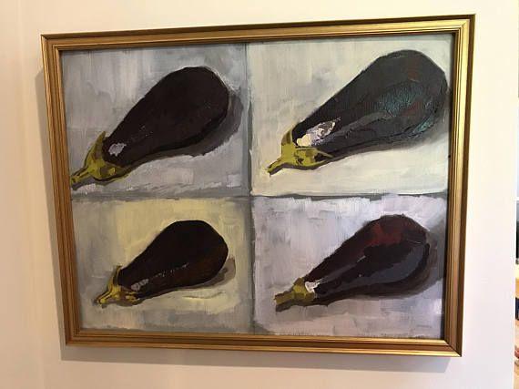 New Original Hand Painted Oil Painting Aubergine Eggplant Kitchen Decor  Italian French Spanish Mediterranean Art Gold Framed Still Life Food