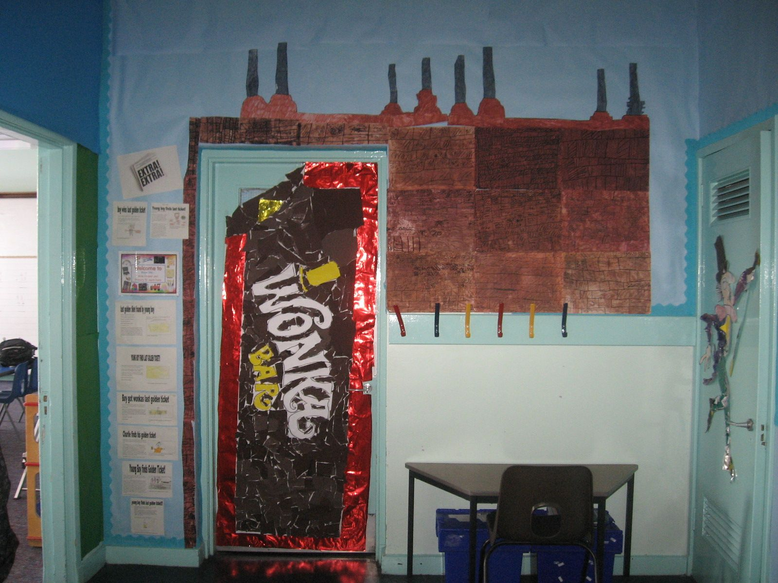 Charlie and the chocolate factory themed classroom door for Puerta willy wonka