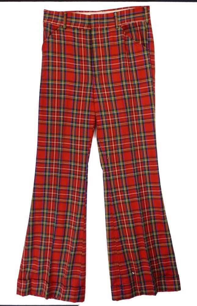 Vintage 70s LEVIS Panatela Red Plaid BELL BOTTOM Pants 32x33 Ugly ...