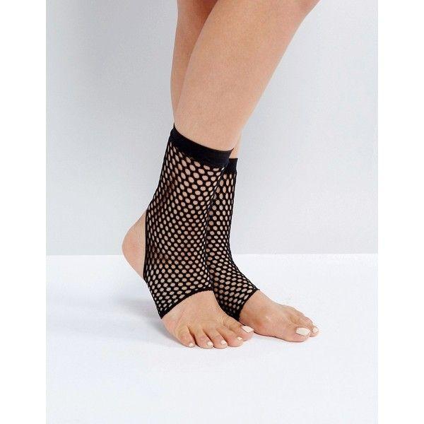 d83cf524d20de ASOS Stirrup Fishnet Ankle Socks ($5) ❤ liked on Polyvore featuring  intimates, hosiery, socks, black, fishnet ankle socks, fishnet socks,  tennis socks, ...