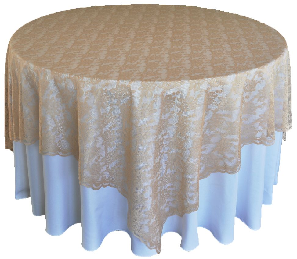 72 Square Lace Table Overlays Champagne 90728 1pc Pk 10 85