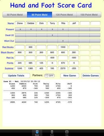 Hand And Foot Score Sheet Template Hand And Foot Score Sheet