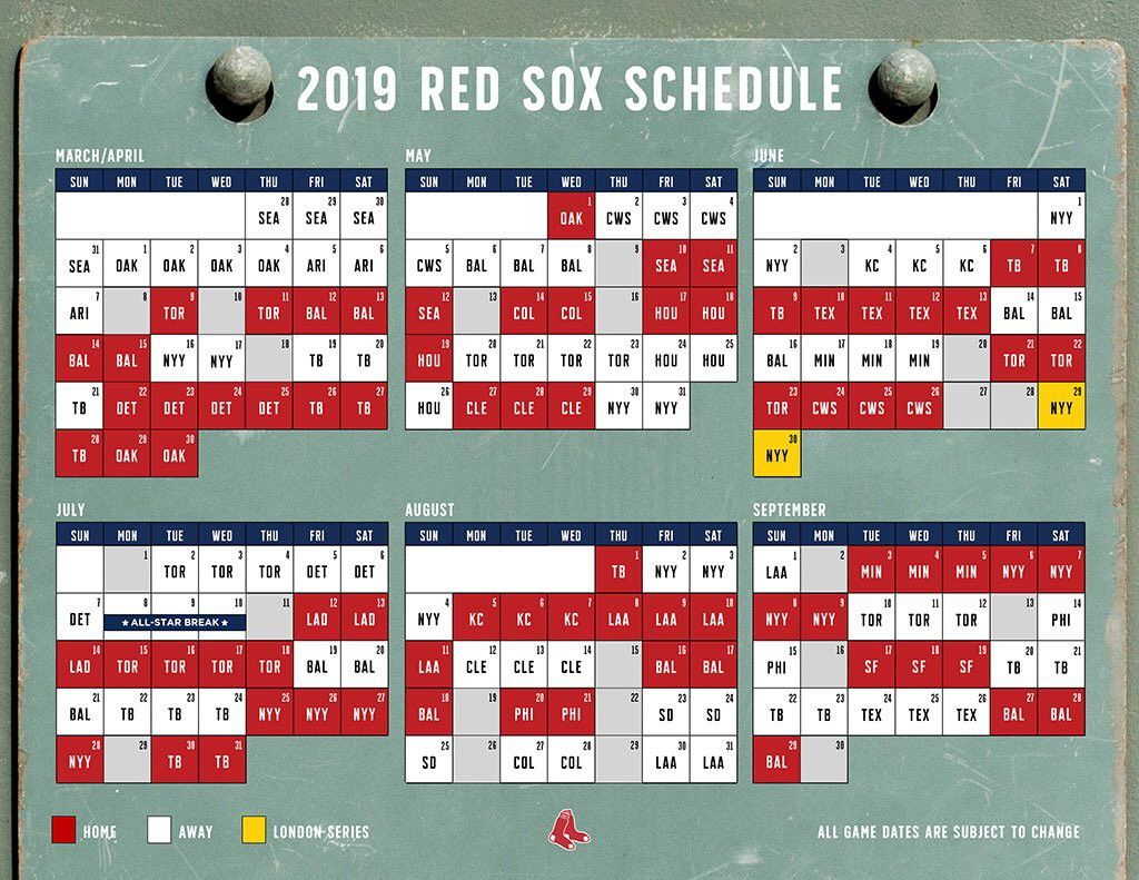 It S Out 2019 Schedule August 2018 Red Sox Red Sox Nation Boston Red Sox