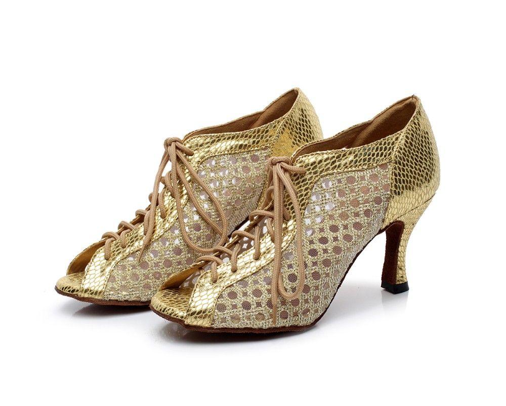Ballroom Latin Dance Shoes Women Bronze Diamond Soft Sole High-heeled Dancing