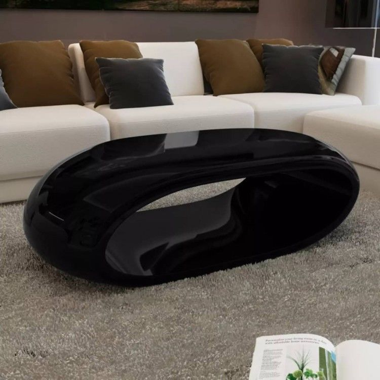 Details About Coffee Table Fiber Glass High Gloss Stand Black Desk