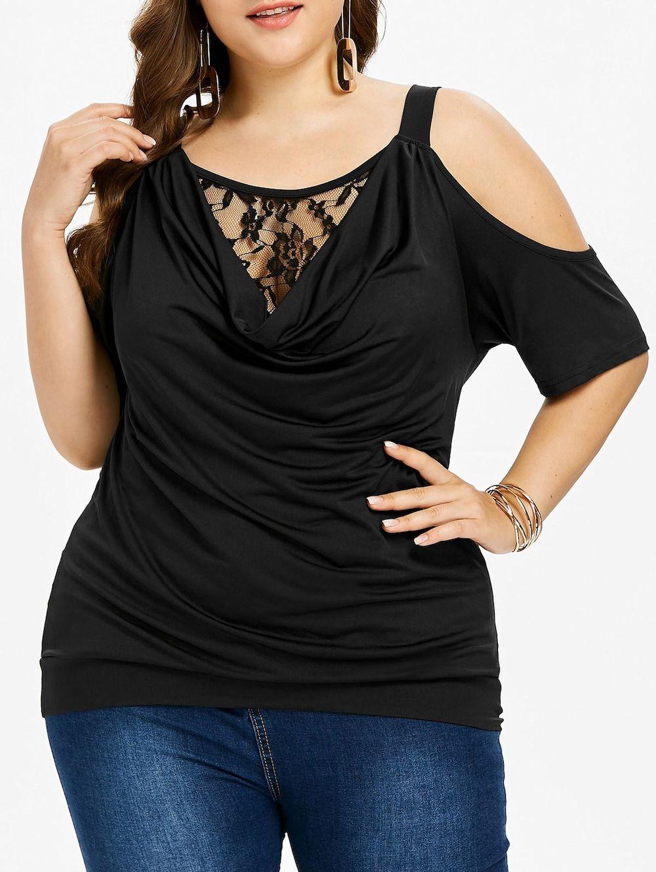 065397254bd Plus Size Cold Shoulder Cowl Neck T-shirt - BLACK 3X Skirts For Sale
