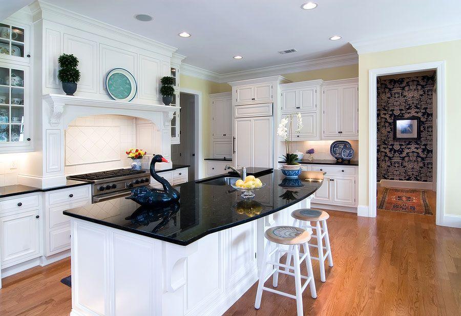 Delightful Island Black Quartz Kitchen Countertop Houston