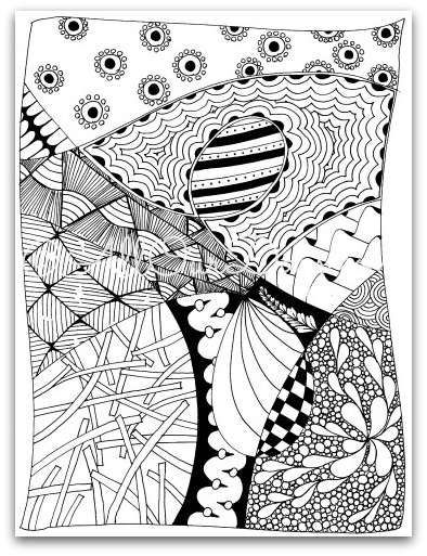 Free Zendoodle Coloring Page For Kids And Adults Coloring Pages Coloring Pages For Kids Doodle Books