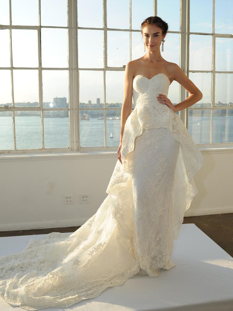 Spectacular Marchesa Fall embroidered lace column gown wedding dress with sheer back detail and detachable sculpted