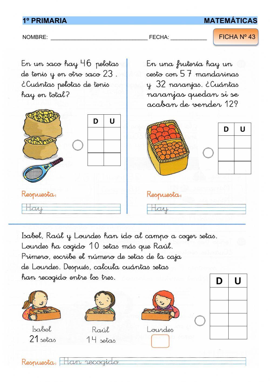 Matemáticas 1º Ficha 43 Ficha Interactiva Matematicas Primero De Primaria Matemáticas De Escuela Primaria Ejercicios Matematicas Primaria