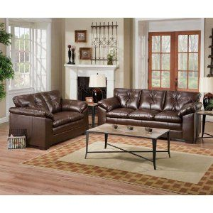 Simmons Coffee Leather Sofa Loveseat Living Room Set