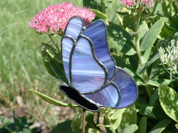 Purple Stained Glass Butterfly Garden Stake Plant By GlassPizazz, $25.00