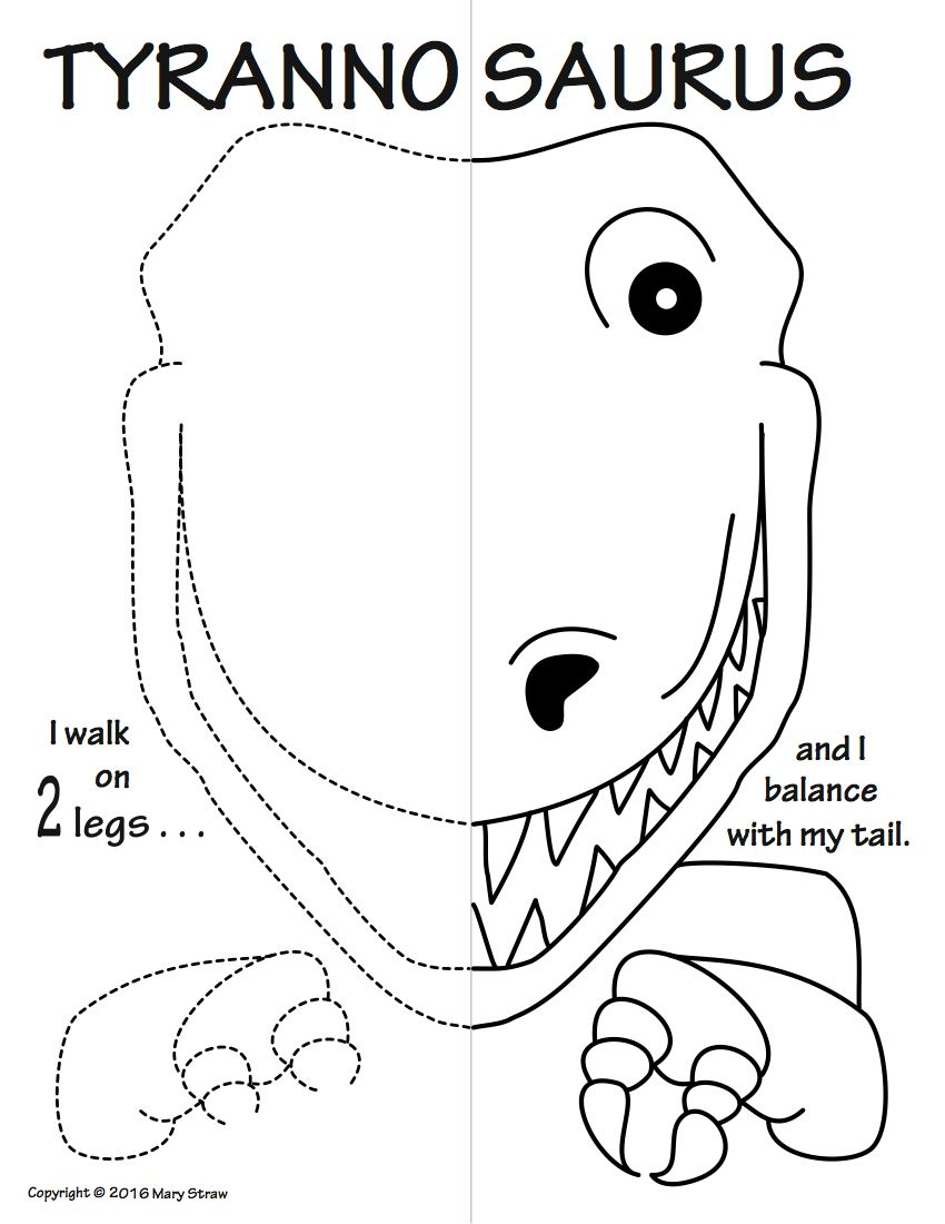 Prehistoric Animals Symmetry Activity Coloring Pages | Symmetry ...