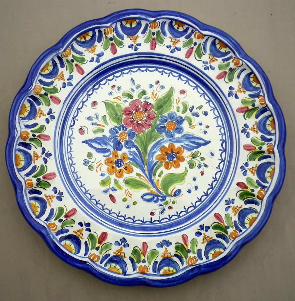 Small Decorative Plates Sets: Vintage Hand Painted Portuguese Majolica Wall Plate
