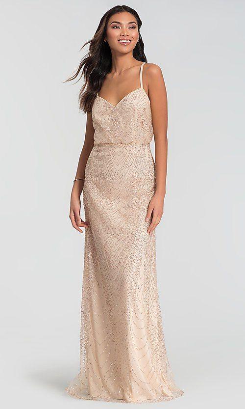 2264a77e03 Image of glitter long blouson Kleinfeld bridesmaid dress. Style  KL-200088  Front Image
