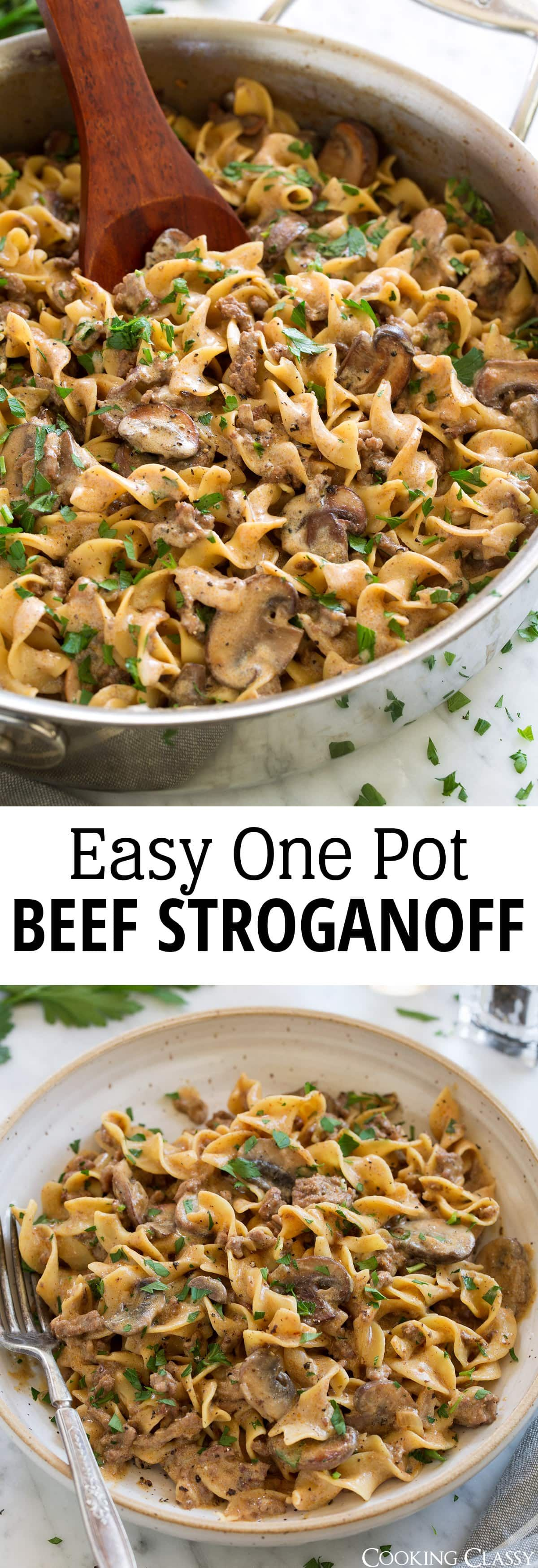 Beef Stroganoff {Easy One Pot Recipe} - this is so hearty and delicious! Love that it uses ground beef but still has great flavor. #beefsteoganoff #dinner #groundbeef #recipe via @cookingclassy #easyonepotmeals