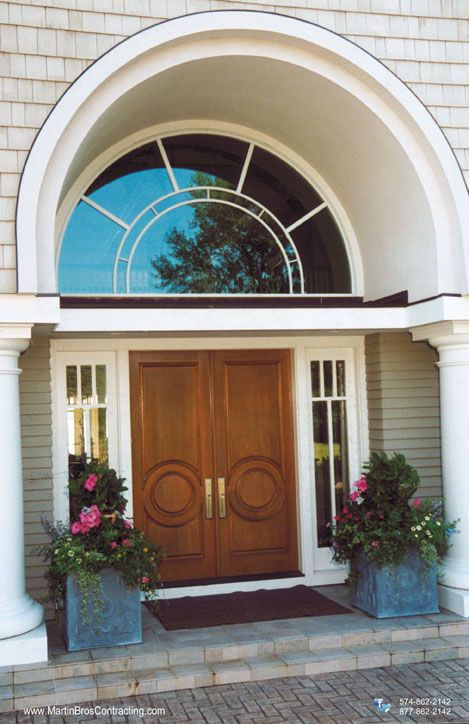 Custom Double Entry Door With Arched Transom Window Above Entrance Door Design Door Design Double Entry Doors