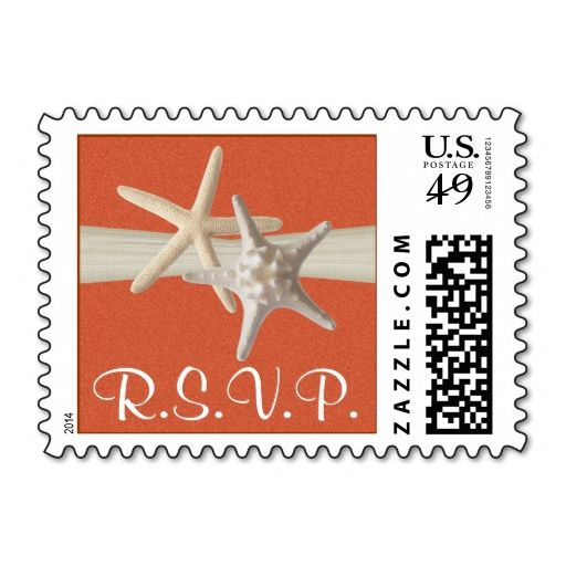 Starfish and Sand Dollar Orange Coral Postage Stamp