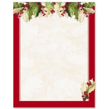 Holly Christmas Letterhead. Paper TemplatesResume ...