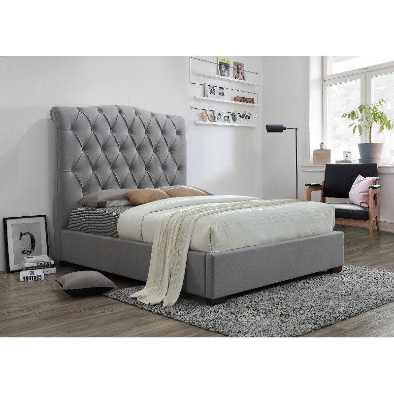 Best Contemporary Gray Queen Upholstered Platform Bed Janice 400 x 300