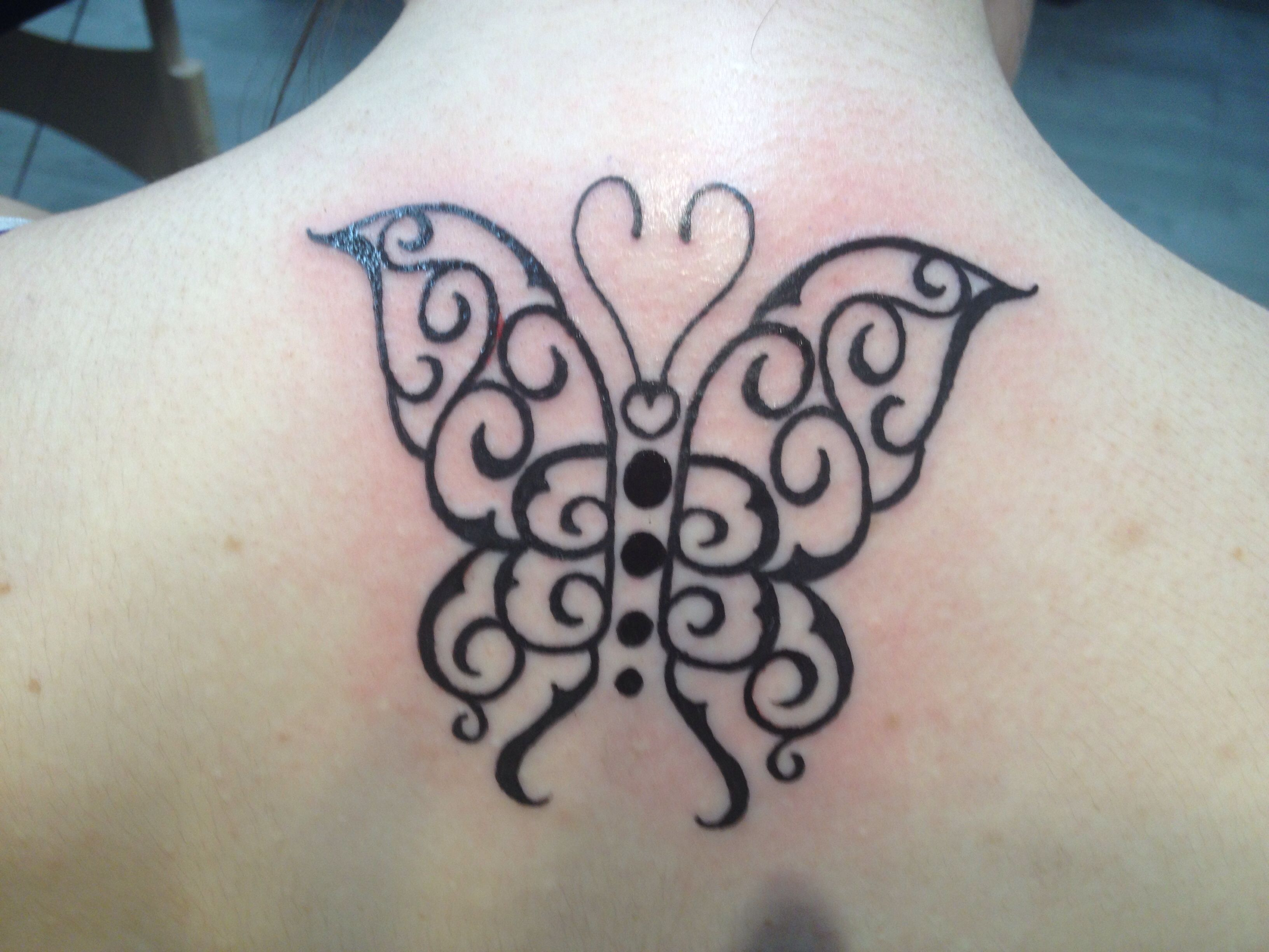 """"""" B """" inscripted butterfly tattoo, matching with my mom❤️"""