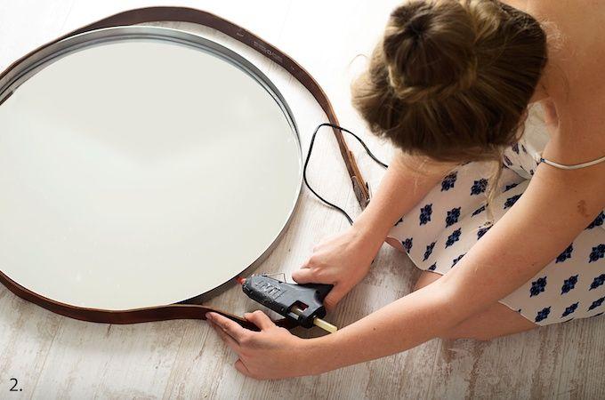 Ronde Spiegel Ikea : Spiegel met riem zelf spiegel maken ikea hack spiegel tile