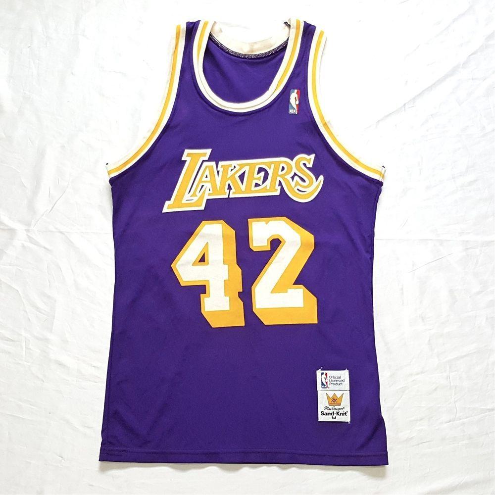 3233b9990 ... Alternate NBA Adidas Jersey - White Vintage Los Angeles LAKERS 42 James  Worthy NBA Basketball Sand Knit Jersey Sz ...