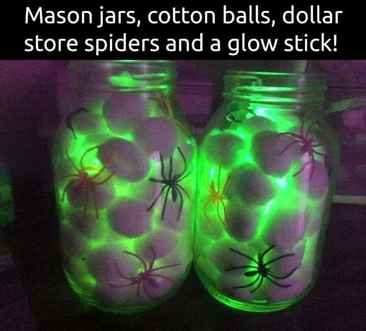 Maybe not cotton balls, maybe moss-type stuff, and maybe make the bottles look more worn and gross  Great Halloween decoration, affordable and neat.  Dollar store plastic spiders and glue sticks +  cotton balls and done! https://glowproducts.com/us/glowsticks