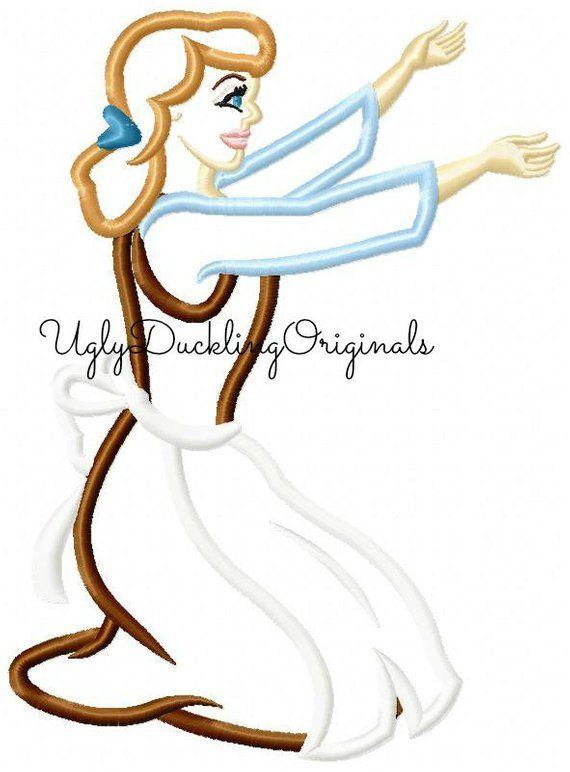 c7eb71cc033fd Cinderella Applique Design Princess Kneeling Machine Embroidery Digital  Download