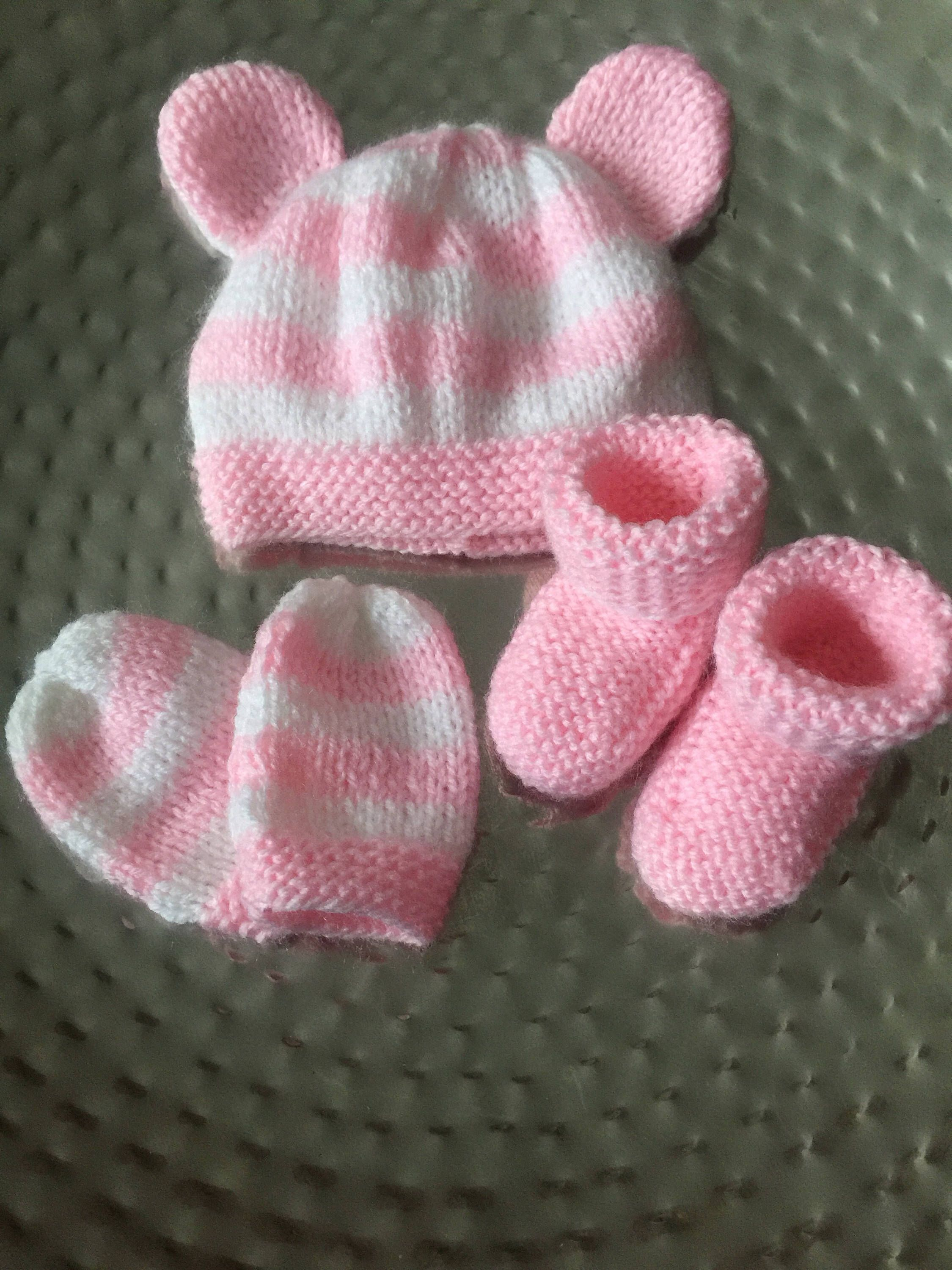 Hand knitted Premature Preemie baby reborn doll Hat Mitts booties