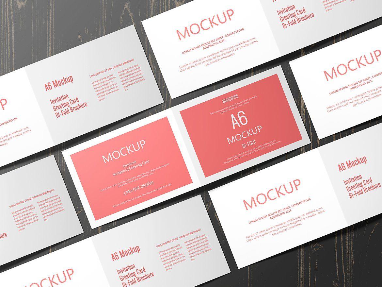 A6 Landscape Greeting Card Mockup Greeting Cards Brochure Folds