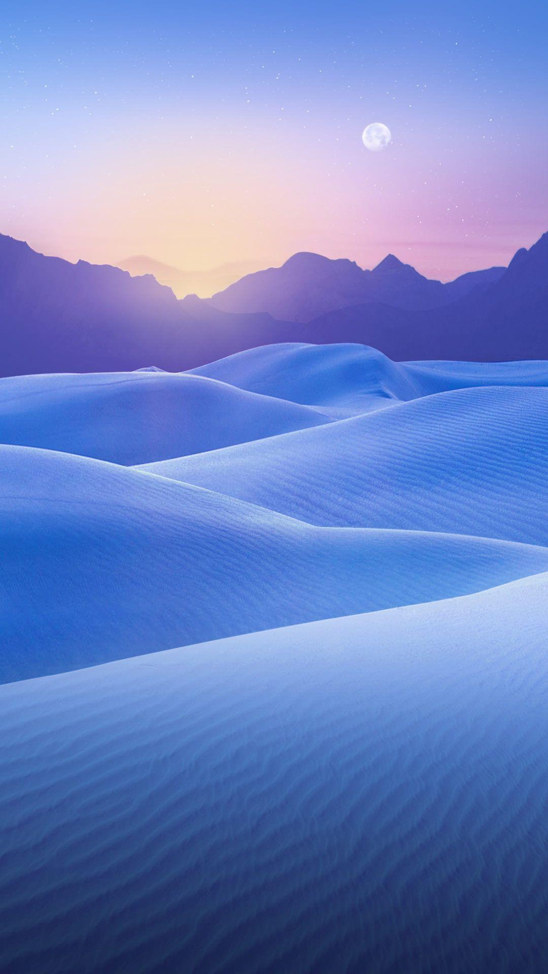 雪原と月 iPhone6 Plus壁紙 美しい風景写真, 風景写真, 風景