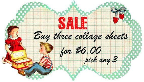 Sale on Digital Collage Sheets...Vintage Retro Fun.... www.monbonbon.etsy.com  $6.00